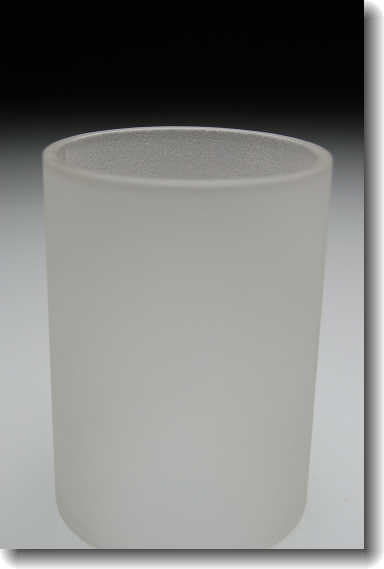 Sand blasted glass cylinder